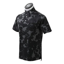 フットジョイ FootJoy メンズ ボタニカルカモフラージュ ライルシャツ(Mサイズ/ブラック) FJ-S21-S06