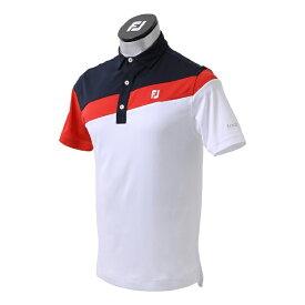 フットジョイ FootJoy メンズ アシンメトリーカラーブロックシャツ(Mサイズ/ホワイト) FJ-S21-S01