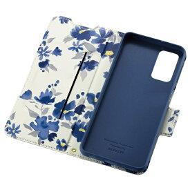 エレコム ELECOM Galaxy A32 5G レザーケース 手帳型 UltraSlim Flowers 薄型 磁石付き ネイビー PM-G208PLFUJNV