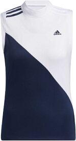 アディダス adidas レディース スリーブストライプス モックネックシャツ(Mサイズ/ホワイト×カレッジネイビー) 23287