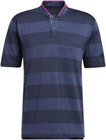 アディダス adidas メンズ PRIMEKNIT 半袖スタンドカラーシャツ(Lサイズ/ナイトマリン×ナイトネイビー) 27491