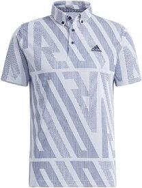 アディダス adidas メンズ ADIDASジャカード 半袖ボタンダウンシャツ(Lサイズ/ホワイト) 23281