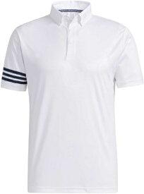 アディダス adidas メンズ エンボスプリント 半袖ボタンダウンシャツ(Lサイズ/ホワイト) 23298