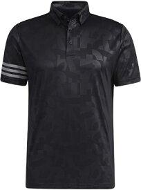 アディダス adidas メンズ エンボスプリント 半袖ボタンダウンシャツ(Lサイズ/ブラック) 23298