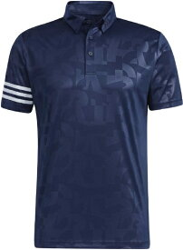 アディダス adidas メンズ エンボスプリント 半袖ボタンダウンシャツ(Lサイズ/カレッジネイビー) 23298