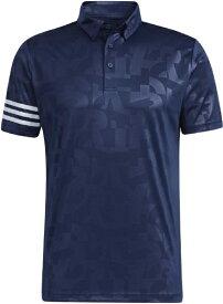 アディダス adidas メンズ エンボスプリント 半袖ボタンダウンシャツ(Mサイズ/カレッジネイビー) 23298