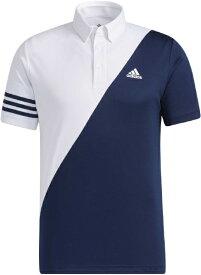 アディダス adidas メンズ スリーストライプス カラーブロック 半袖ボタンダウンシャツ(Lサイズ/ホワイト×カレッジネイビー) 23282