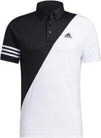 アディダス adidas メンズ スリーストライプス カラーブロック 半袖ボタンダウンシャツ(Lサイズ/ブラック×ホワイト) 23282