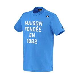 ルコック le coq メンズ 半袖モックネックシャツ(Mサイズ/ブルー) QGMRJA08