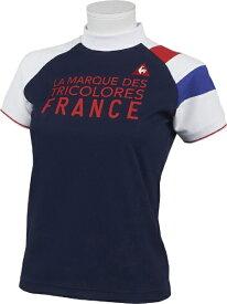 ルコック le coq レディース ソレイユモックネック半袖シャツ(Mサイズ/ネイビー) QGWQJA01