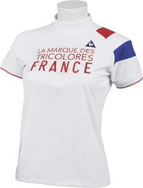 ルコック le coq レディース ソレイユモックネック半袖シャツ(Mサイズ/ホワイト) QGWQJA01