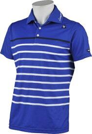 ルコック le coq メンズ クーリストパネルボーダー柄 半袖シャツ(Mサイズ/ブルー) QGMRJA17