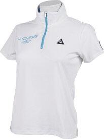 ルコック le coq レディース ハーフジップスタンドカラー半袖シャツ(Mサイズ/ホワイト) QGWRJA09