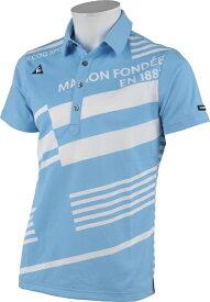 ルコック le coq メンズ オリジナルボーダープリント柄半袖ポロシャツ(Mサイズ/ブルー) QGMRJA15