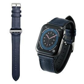 エレコム ELECOM Apple Watch バンド Series 7/6/5/4/3/2/1、SE対応 45mm 44mm 42mm バンド ソフトレザー ハイブリッド TPU ネイビー ネイビー AW-44BDLHVNV