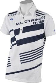 ルコック le coq メンズ オリジナルボーダープリント柄半袖ポロシャツ(Lサイズ/ホワイト) QGMRJA15