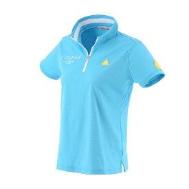 ルコック le coq レディース ハーフジップスタンドカラー半袖シャツ(Lサイズ/サックス) QGWRJA09