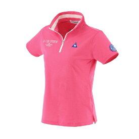 ルコック le coq レディース ハーフジップスタンドカラー半袖シャツ(Lサイズ/ピンク) QGWRJA09