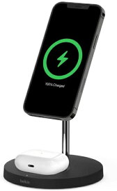 BELKIN ベルキン MagSafe急速充電対応 iPhoneAirPods 同時充電可能 2in1 ワイヤレス充電器 WIZ010dqBK ブラック ブラック WIZ010DQBK