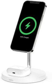 BELKIN ベルキン MagSafe急速充電対応 iPhoneAirPods 同時充電可能 2in1 ワイヤレス充電器 WIZ010dqWH ホワイト ホワイト WIZ010DQWH