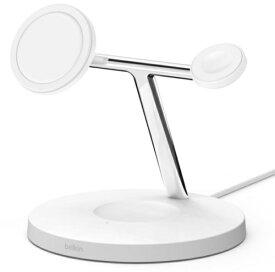BELKIN ベルキン MagSafe急速充電対応 iPhoneapple watch AirPods 同時充電可能 3in1 ワイヤレス充電器 WIZ009dqWH ホワイト ホワイト WIZ009DQWH