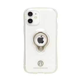 ナチュラルデザイン NATURAL design iPhone 12 mini 5.4インチ対応 フィンガーリング付衝撃吸収背面ケース +R Clear White
