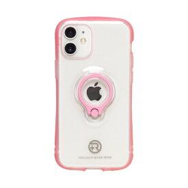 ナチュラルデザイン NATURAL design iPhone 12 mini 5.4インチ対応 フィンガーリング付衝撃吸収背面ケース +R Clear Pink