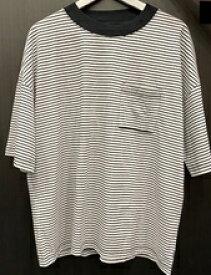 SHELTECH シェルテック メンズ ワイドポケットTシャツ(Mサイズ/ボーダー ブラック×ホワイト)SH-002
