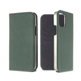LORNA PASSONI ロルナパッソーニ LORNA PASSONI - German Shrunken Calf Folio Case for iPhone 12 Pro Max [ VertAnglais x Black ] LPSCVABFLIP2067 グリーン