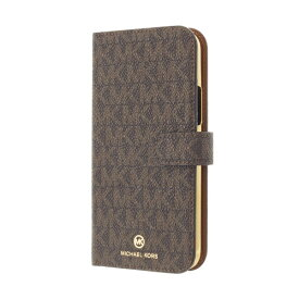 MICHAEL KORS マイケルコース MICHAEL KORS - Folio Case Signature with Hand Strap - Magsafe for iPhone 12 mini [ Brown ] MKSHBRWFLIP2054 ブラウン