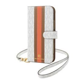 MICHAEL KORS マイケルコース MICHAEL KORS - Folio Case Stripe with Neck Strap - Magsafe for iPhone 12 mini [ Bright White ] MKPNBGWFLIP2054 ブライトホワイト