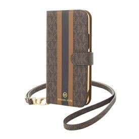 MICHAEL KORS マイケルコース MICHAEL KORS - Folio Case Stripe with Neck Strap - Magsafe for iPhone 12/12 Pro [ Brown ] MKPNBRWFLIP2061 ブラウン