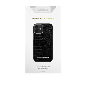 IDEAL OF SWEDEN アイディールオブスウェーデン iPhone12 mini ATELIER CASE 21SS NEO NOIR CROCO SILVER IDACSS21-I2054-306 ブラック