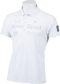 デサント DESCENTE メンズ クイックドライ 鹿の子ロゴプリントシャツ(Lサイズ/ホワイト) DGMPJA35