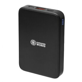 ハマケンワークス HAMAKEN WORKS マグネット対応 ワイヤレスモバイルバッテリーHWB-5000BK HWB-5000BK [5000mAh /2ポート /充電タイプ]