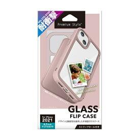 PGA iPhone 13 対応 6.1inch 2眼 ガラスフリップケース ピンク Premium Style PG-21KGF06PK