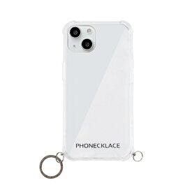 【2021年9月】 ROA ロア iPhone 13 mini対応 5.4 inch ストラップ用リング付きクリアケース ガンブラックチャーム PHONECKLACE PN21588i13MNBK