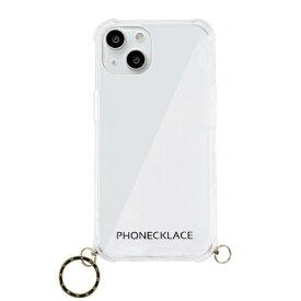 【2021年9月】 ROA ロア iPhone 13 対応 6.1 inch 2眼 ストラップ用リング付きクリアケース ゴールドチャーム PHONECKLACE PN21599i13GD