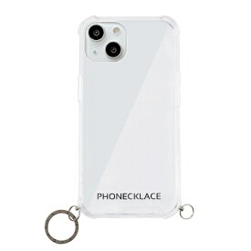 【2021年9月】 ROA ロア iPhone 13 対応 6.1 inch 2眼 ストラップ用リング付きクリアケース ガンブラックチャーム PHONECKLACE PN21600i13BK