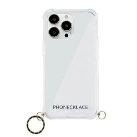 【2021年9月】 ROA ロア iPhone 13 Pro 対応 6.1 inch 3眼 ストラップ用リング付きクリアケース ゴールドチャーム PHONECKLACE PN21611i13PGD