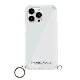 【2021年9月】 ROA ロア iPhone 13 Pro 対応 6.1 inch 3眼 ストラップ用リング付きクリアケース ガンブラックチャーム PHONECKLACE PN21612i13PBK