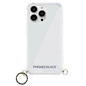 【2021年9月】 ROA ロア iPhone 13 Pro Max対応 6.7inch ストラップ用リング付きクリアケース ゴールドチャーム PHONECKLACE PN21616i13PMGD