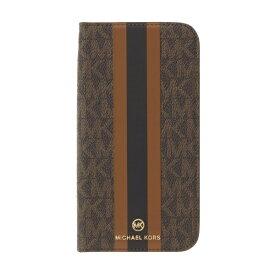 MICHAEL KORS マイケルコース MICHAEL KORS - Folio Case Stripe with Tassel Charm for iPhone 13 [ Brown ] MICHAEL KORS マイケルコース MKSTBRWFLIP2161