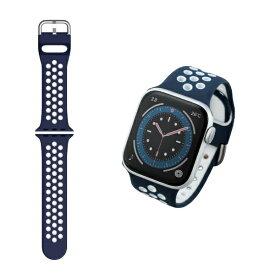 エレコム ELECOM Apple Watch バンド Series 7/6/5/4/3/2/1、SE対応 41mm 40mm 38mm シリコン アクティブタイプ 軽量 スポーツ 通気穴 ネイビー×ホワイト AW-40BDSCNNV