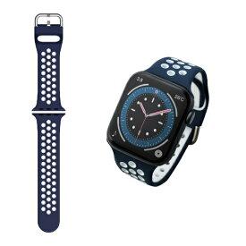 エレコム ELECOM Apple Watch バンド Series 7/6/5/4/3/2/1、SE対応 45mm 44mm 42mm バンド シリコン アクティブタイプ 軽量 スポーツ 通気穴 ネイビー×ホワイト AW-44BDSCNNV