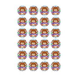 はげましシール<ホログラムシール>くま【授業/小学校/ごほうびシール/学習シール/採点/教師/教員/先生用品/シール】