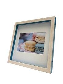 額縁 マカロンフレーム Macaron frame Blue 200x200mm(ハガキサイズマット付) fmc-61630 写真サイズ 北欧 おしゃれ かわいい パステルカラー 雑貨 壁掛け インテリア あす楽