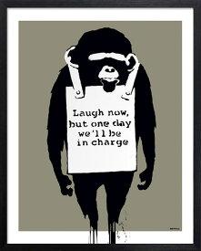 アートフレーム バンクシー Banksy Laugh Now iba-61741 絵画 壁掛け おしゃれ アートパネル チンパンジー 送料無料