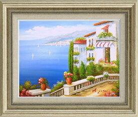 油絵 オイルペイントアート 矢田 晃 青い海のテラス F6 iop-61402 絵画 壁掛け 手書き 送料無料