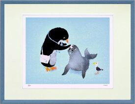 アートフレーム 菜生(nao) ペンギン先生の往診 zno-61115 なお 絵画 壁掛け おしゃれ かわいい 額縁付き 子供部屋 キッズ